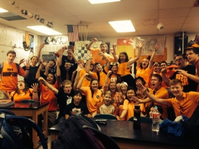 Mr. Peck's 1st Hour AP Physics class cheering. Can you find Mr. Peck?