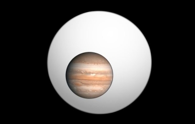 Packet 2, Fall 2014:  Jupiter compared to the size of the largest Exoplanet discovered so far.