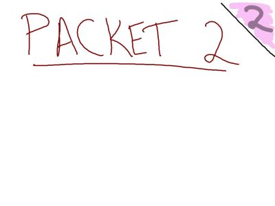 Packet 2, Fall 2014: The top 1/4 of the beginning page of each packet needs to announce the new packet. Also, remember to color in the upper outside corner of each page.