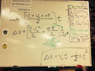 Last few steps of 1st Orange Kinematic Equation derivation