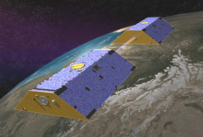 GRACE uses two satellites and GPS satellites are used to do gravity anomalies on earth.