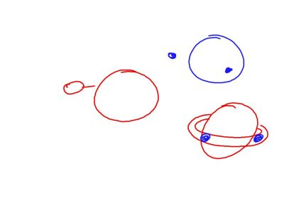 After Orpheus hit the earth, the earth had a ring like Saturn.  The ring slowly coalesced into two moons.