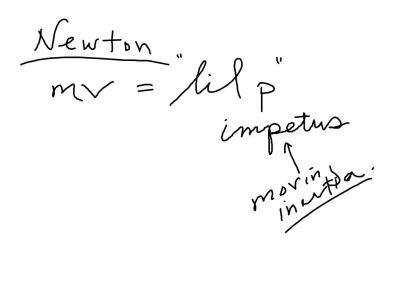 Newton said that it was actually impetus (momentum) was conserved.  So that the total momentum just before a collision is the same as the total momentum just after a collision.