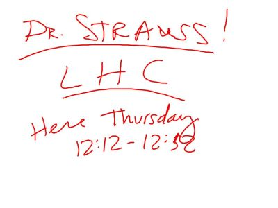 Dr. Strauss discussed the LHC and the Higgs.