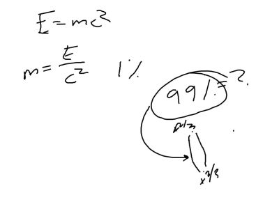So . . . 99% of our mass comes from nothingness inside a flux tube.  It is a result of the energy required to maintain that vacuum inside that flux tube.  So from E = mc^2 we get m = E / c^2.