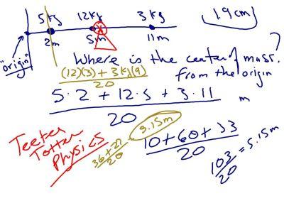 Sample problem involving center of mass.